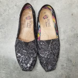 SKECHERS BOBS | Sparkle Glitter Lace Black Silver